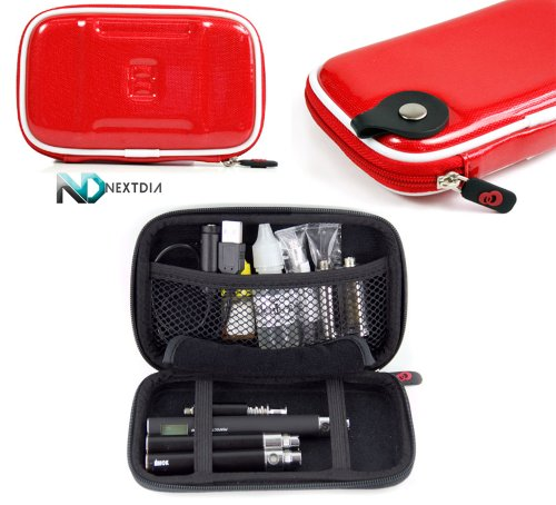 Carrying Travel Semi-Hard Case - Compatible With Atmos Vaporizer Bullet Cartridge Mod (Glossy Cabarnet Red Eva) Universal Fit With Carabiner Hook For Attaching Keys