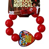 High School Musical Beaded Heart Charm Bracelet - Red