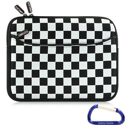 Gizmo Dorks Neoprene Zipper Sleeve (Black and White Checker) with Carabiner Key Chain for the T-Mobile LG G-Slate Tablet