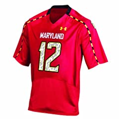NCAA Mens Maryland Terrapins #12 College Football Replica Jerseys (Red) by Under Armour