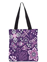 Snoogg Colorful Floral Seamless Pattern In Cartoon Style Seamless Pattern Designer Poly Canvas Tote Bag - B012FUHW4Y