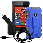 Lumia 520 Case, CellJoy® [Future Armor] Nokia Lumia 520 (WILL NOT FIT Lumia 521) Case Hybrid Ultra Fit Dual Protection Holster **Kickstand** [Belt Clip Holster Combo] - Rugged Case for Lumia 520 + Micro USB Rapid Car Charger by Celljoy (Blue & Gray)