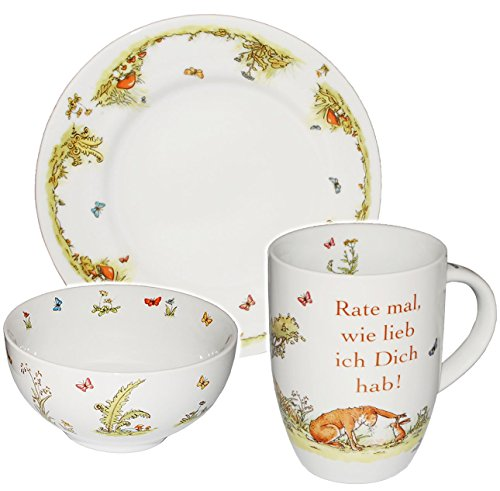 3-tlg-Geschirrset-Weisst-du-eigentlich-wie-lieb-ich-Dich-hab-Rate-mal-wie-lieb-ich-Dich-hab-Porzellan-Keramik-Trinkbecher-Teller-Mslischale-Hase-Tiere-Kindergeschirr-Frhstcksset-fr-Kinder-Mdchen-Junge
