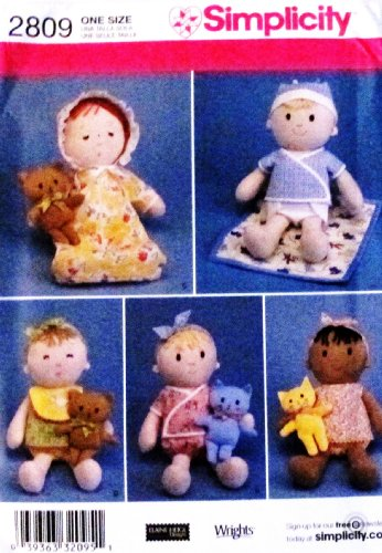 "Simplicity 2809 ~ 15"" Doll, Doll Clothes, & 6.5"" Cat & Bear Sewing Pattern"