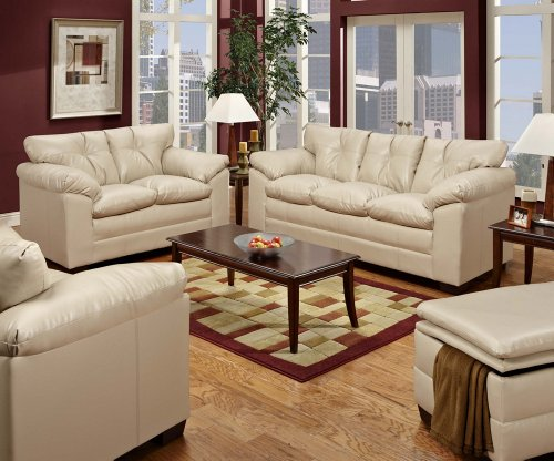 SIMMONS 6569 SEBRING TAUPE LEATHER SOFA LOVESEAT CHAIR OTTOMAN LIVING ROOM SET NEW