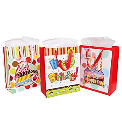 (3 Bags Set) Happy Birthday Gift Bags and Tissues - Festive Party / Colorful Celebration Theme