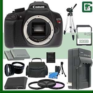 Canon EOS Rebel T5 Digital SLR Camera + 32GB Green's Camera Package 1