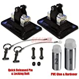 """Seamax Bimini Top Pontoon Standing Patch Kit, Pontoon Patch with Stainless Steel Support Built-in, Patch with Curved Surface for Inflatable Boat, Set of 2 Patches 3""""x5"""", Quick Release Pin & Bolts Set, 2 Part PVC Glue"""