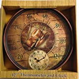 Cowboy Hat and Rope Thermometer Clock