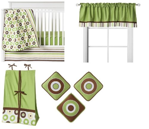 Mod Dots/Strps Green 9pc Crib Set