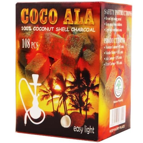 Coco Ala Charcoal Natural Coconut Hookah Shisha Coals, 108 Piece (Natural Coconut Charcoal compare prices)