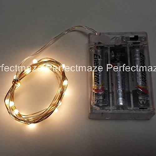 Perfectmaze Warm White 7Ft 20 Leds Strings Led Lights Strings Battery Operated Lights Fairy Lights Aa Battery Powered Ultra Thin String Wire Potted Plants Led Lights