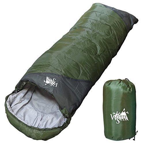 丸洗いOK White Seek 寝袋 シュラフ 封筒型【最低使用温度0℃ 1300】コンパクト収納 (ダークグリーン)