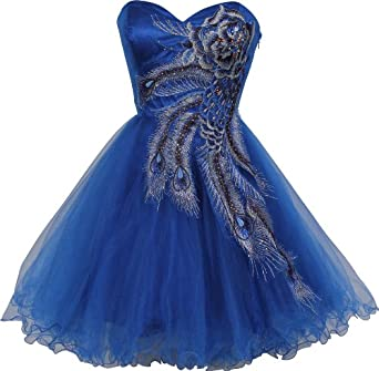 Metallic Peacock Embroidered Holiday Party Prom Dress Junior Plus Size, Size: Small, Color: Royal