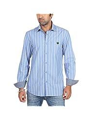 Radio Jockey Men's Slim Fit Cotton Stripes Shirt