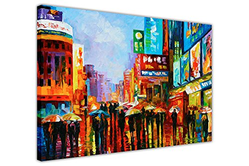 "Lights of Down Town New York von Leonid Afremov Gerahmter Kunstdruck auf Leinwand Wandbilder Modern Art Poster, canvas, 02- A3 - 16"" X 12"" (40CM X 30CM)"