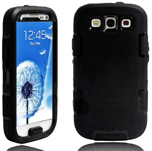 Mylife (Tm) Black - Rugged Robot Armor Series (3 Piece Neo Hybrid Flexi Case + Urban Body Armor Glove) Case For Samsung Galaxy S3 Gt-I9300 And Gt-I9305 Touch Phone (Thick Silicone Outer Gel + Tough Rubberized Internal Shell + Mylife (Tm) Lifetime Warranty