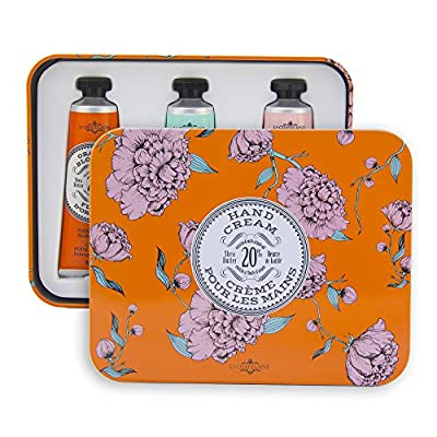 La Chatelaine 20% Shea Butter Hand Cream Tin Gift Set with Organic Argan Oil, Hydrating, Repairing, Best Gift Ideas, Non-Greasy Formula, Made in France -Orange Blossom,Gardenia,Rose Acacia, 3 x 1 oz
