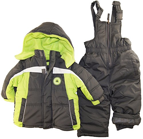 Ixtreme Baby Boys Infant Contrast Two Piece Snowsuit, Charcoal, 12 Months front-810153