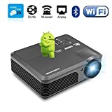 Android WiFi Bluetooth Projector, CAIWEI 3200 Lumens LCD LED Projector 1080p 720p Full HD Support, Multimedia Home Theater Projector Projector With HDMI Cable Remote Speakers for Phone iPhone PC USB