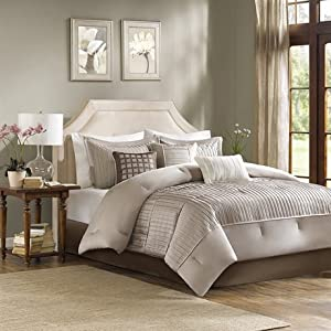 Madison Park Trinity 7 Piece Comforter Set - Taupe - King