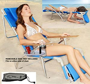 Super Deluxe Padded 3 in 1 Beach Chair Lounger with Side Tray by Ostrich