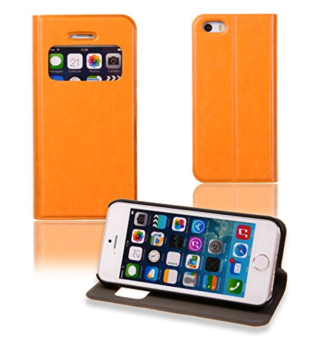 Kiss Gold Window View Fashion Pu Leather Series Folio Case With Flip Stand For Apple Iphone 5/Iphone 5S (Orange)