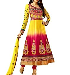 Arati Creation Women's Georgette Unstitched Dress Material (XYZ3_Yellow Red_Free Size)