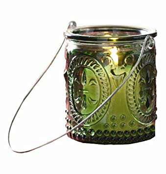 #!Cheap Tag Pressed Glass Tea Light Lantern, Set of 12, Red & Green