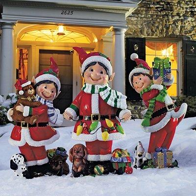 Set of three fiber optic elves frontgate outdoor for Outdoor santa decorations