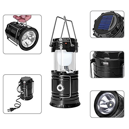 3 In 1 Solar Rechargeable Collapsible Portable LED Camping Lantern Flashlight for Home Fishing Hiking Backpacking (Black, Small) (Collapsible Camping Stove compare prices)