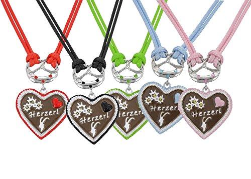 Trachtenkette Dirndl Kette Brezel leckeres Lebkuchen Herz mit Strass, doppelte Kordel mit Herzerl und Strass (Gruen) thumbnail