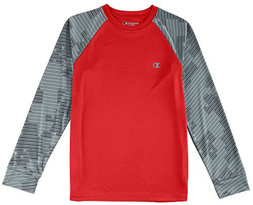 Champion Big Boys Long Sleeve Printed T-Shirt Medium Crimson red (Red Champion Long Sleeve Shirt compare prices)