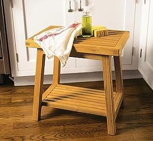 Bathroom Stool on Amazon Com   New Grade A Teak Bath Stool Or Side Table Or Shower Bench