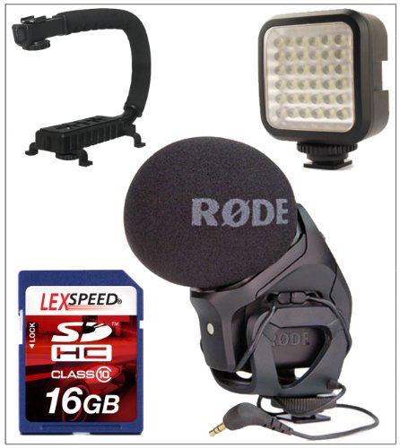 Rode Microphone For Nikon D90, D5100, D3100, D3200 - Rode Stereo Videomic Pro + Action Stabilizing Grip Handle + Lexspeed 16Gb Sdhc Class 10 Memory Card + Photoamerica Led 36 Video Light + Cleaning Cloth
