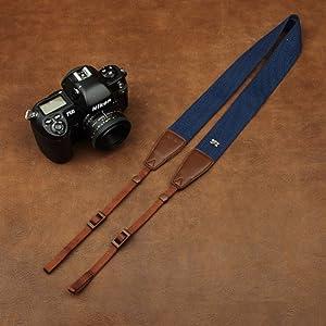 Anti-Slip Blue Cotton/Brown Leather Head Universal Camera Strap for SLR DSLR 1207A-2