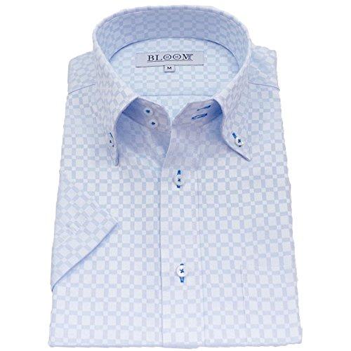 (ブルーム) BLOOM オリジナル 半袖 ワイシャツ 形態安定 爽やか織柄チェック 10 L