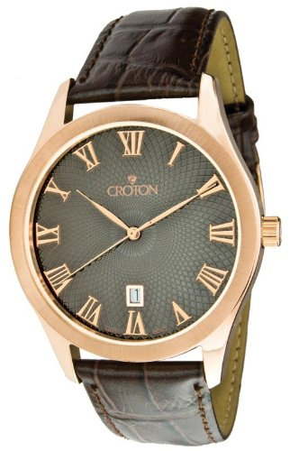 Croton CN307109BRBR Men's Quartz Black Dial Rose Gold Tone Watch
