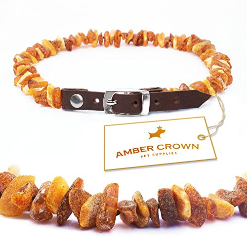 amber-flea-and-tick-collar-with-adjustable-leather-strap-for-dogs-and-cats-untreated-authentic-balti