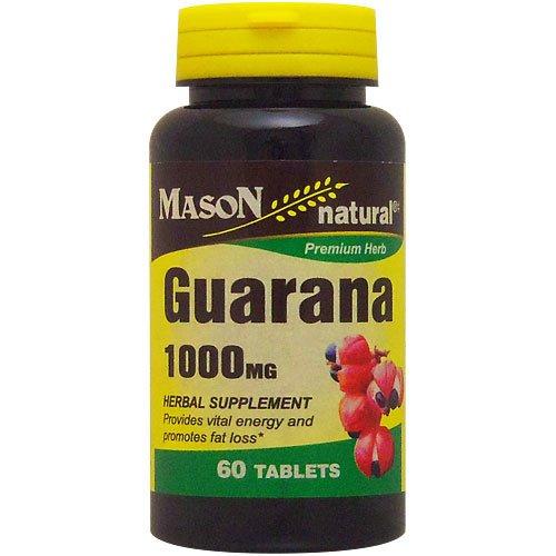 Mason Natural Guarana South American Seeds 1000 Mg Premium Herbal Supplement Tablets - 60 Ea
