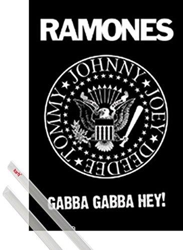Poster + Sospensione : Ramones Poster Stampa (91x61 cm) Logo, Stemma e Coppia di barre porta poster trasparente 1art1®