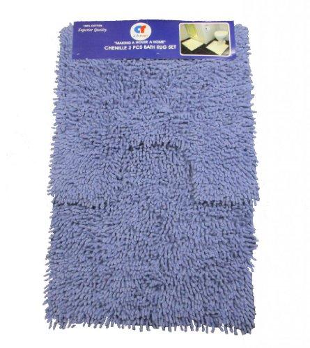 Purple Shaggy Bath 100% Cotton 2 Pcs Bath & Pedestal Bathmat Set Chenille Shaggy Rug Bathroom Bath Mat Set by Quality Linen and Towels