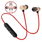 Wireless Bluetooth Headphones, Magnetic Attraction Sweatproof Earphones, in-Ear HiFi Bass Stereo Noise Cancelling Wireless Earbuds, Mini Sport Headset for Workout, Gym & Running (Tamaño: Red)