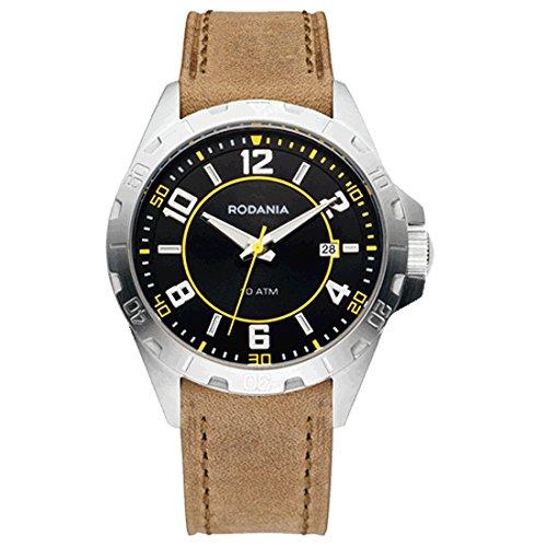 Rodania 26113-24 - Reloj para hombres, correa de cuero color marrón