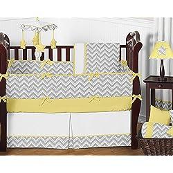 Sweet Jojo Designs Gray and Yellow Chevron Zig Zag Unisex Baby Bedding 9pc Girl or Boy Crib Set