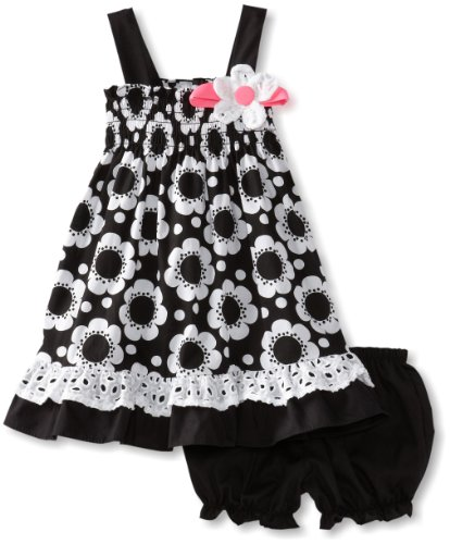 Rare Editions Baby-Girls Infant Floral Print Woven Dress, Black/White, 12 Months