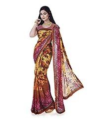 Aadarshini Women's Chiffon Saree (4098, Yellow And Pink)