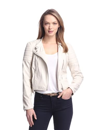 W118 by Walter Baker Women's Peeta Faux Leather Motorcycle Jacket  [Ivory]
