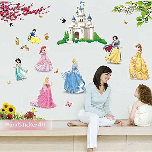 sticker4u-grand-set-de-princesse-chateau-mural-belle-princesse-chateau-nains-fleurs-papillons-tourne