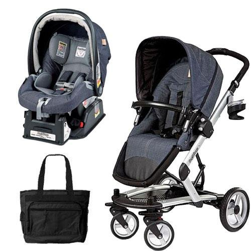 Peg Perego Skate Stroller Pram System with Car Seats and Fashionable Diaper Bag - Denim